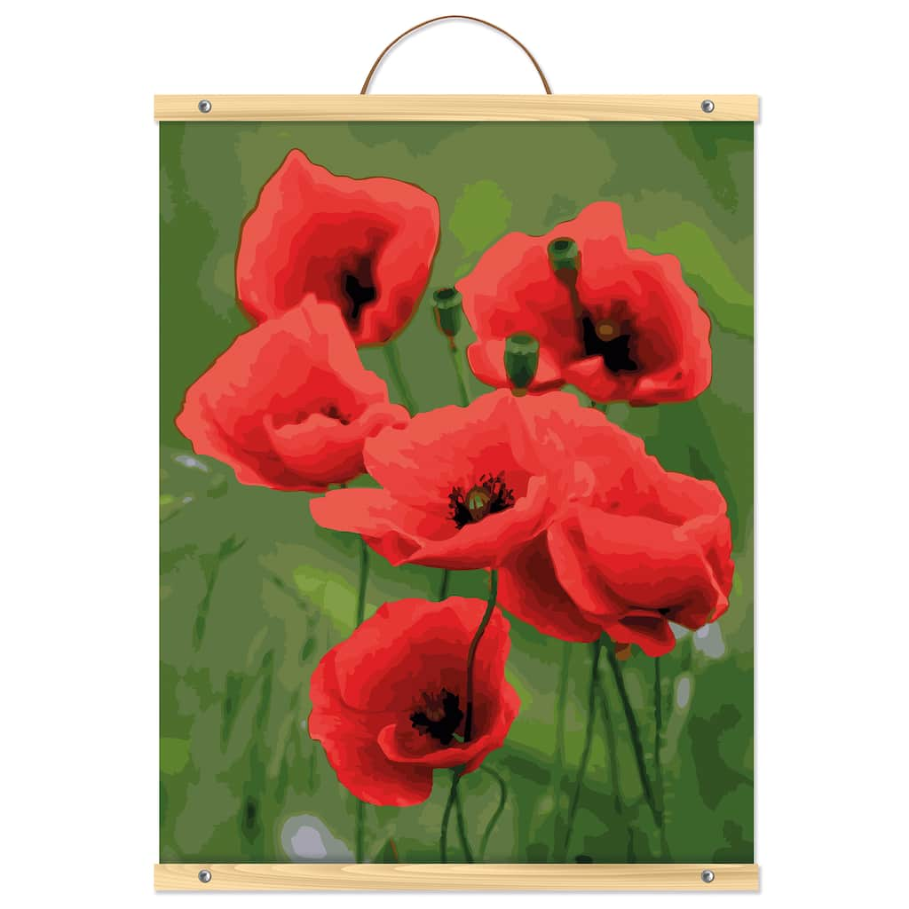 Poppies Flower Vase Paint By Numbers Kits DIY Number Hand Canvas Painting Poppy