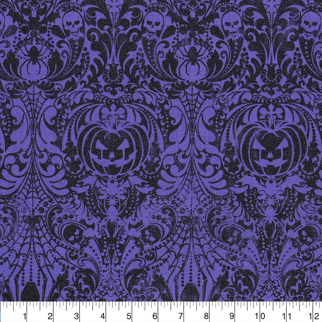 Find the Fabric Traditions Halloween Purple Glitter Gothic Scroll Home Décor  Fabric at Michaels.com