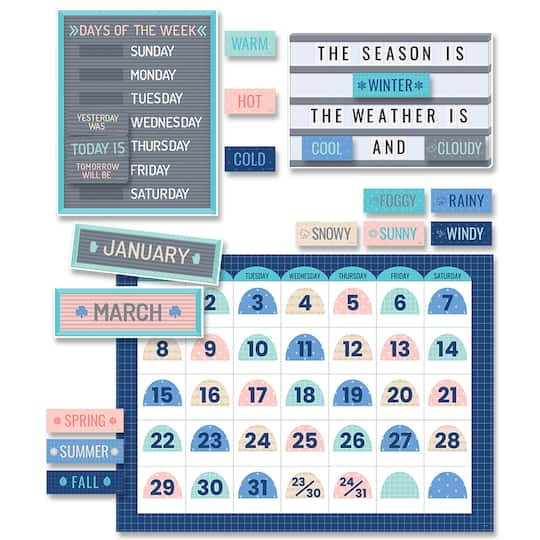 Creative Teaching Press® Calm & Cool Calendar Set Bulletin Board