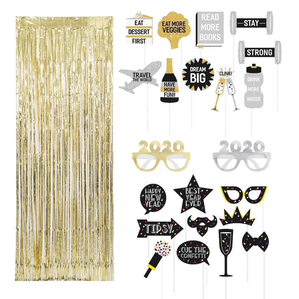 New Year Party Photo Prop And Booth Kit New Years Eve Party Supplies