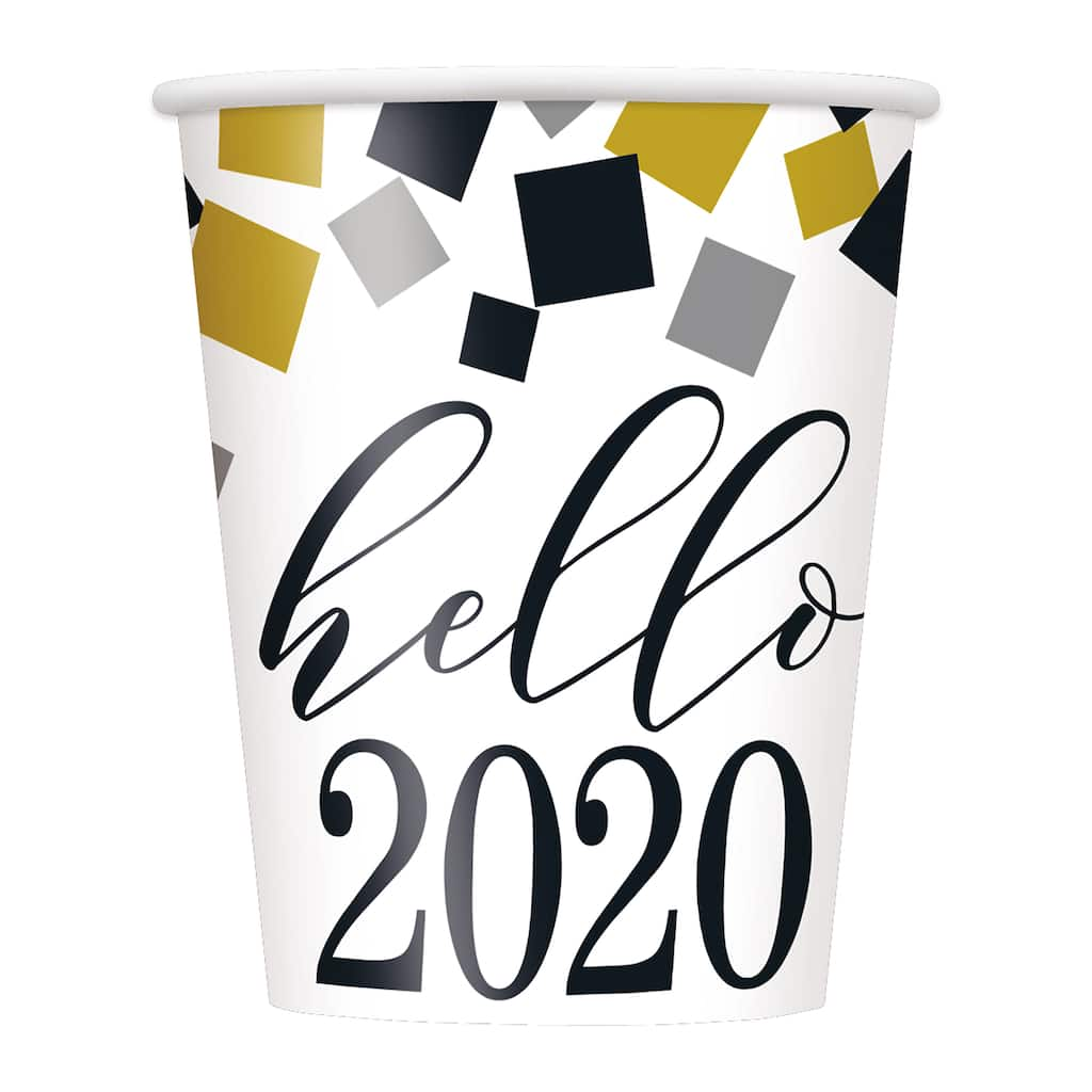 2020 Happy New Year Cups | Black and Gold New Years Eve ...