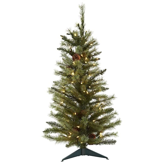 3ft Pre Lit Artificial Christmas Tree With Pinecones Clear Lights Michaels