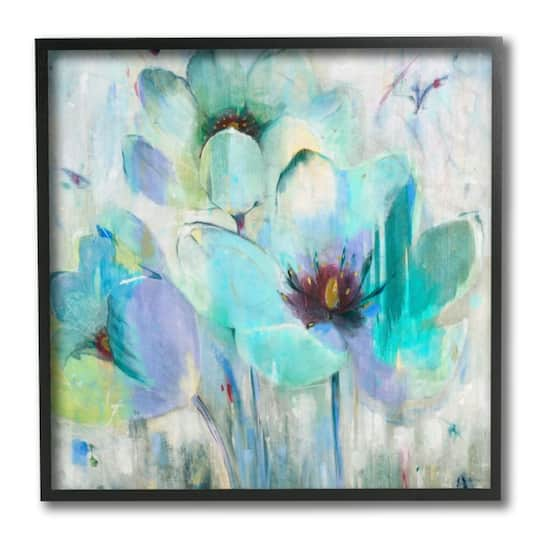 Stupell Industries Blue Lilly Abstraction Distressed Rustic Charm Canvas Third Wall Art 17 x 17