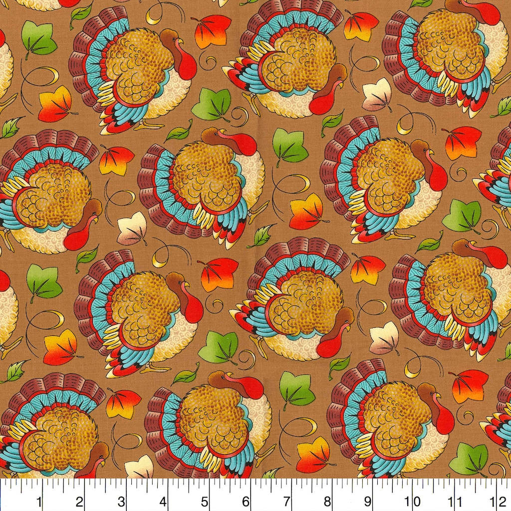 Find the Fabric Traditions Fall Turkeys Cotton Home Décor Fabric at Michaels .com