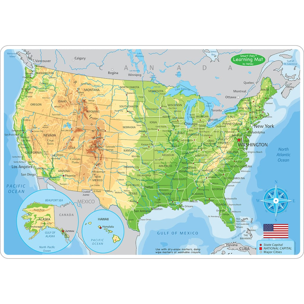 Ashley Productions Smart Poly™ U.S. Physical Map Learning Mats, 10ct.