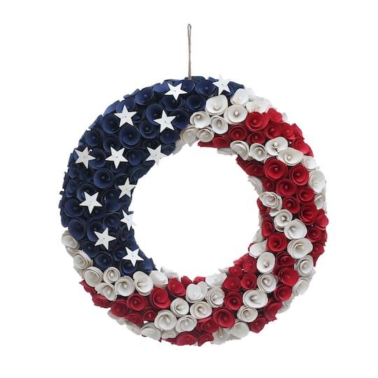 18.5″ Stars & Stripes Wood Wreath by Ashland®