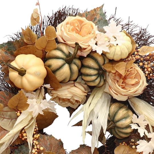 "Find The 22"" Cream & Green Rose & Pumpkin Wreath At Michaels"