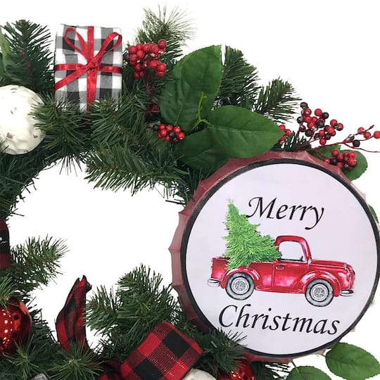 22 gift box wreath with merry christmas truck sign by ashland michaels 22 gift box wreath with merry christmas truck sign by ashland