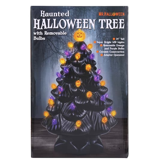14 Black Ceramic Halloween Tree With Bulbs