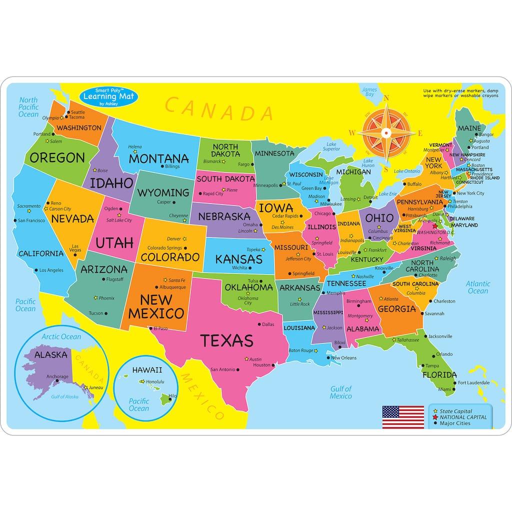 Buy Ashley Productions Smart Poly Us Basic Map Learning Mats - Basic-map-of-us
