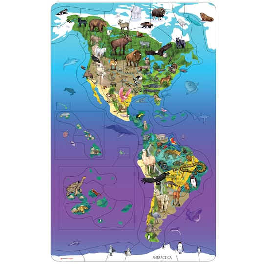 Animal Magnetism® Magnetic Wildlife Map Puzzle: North & South America