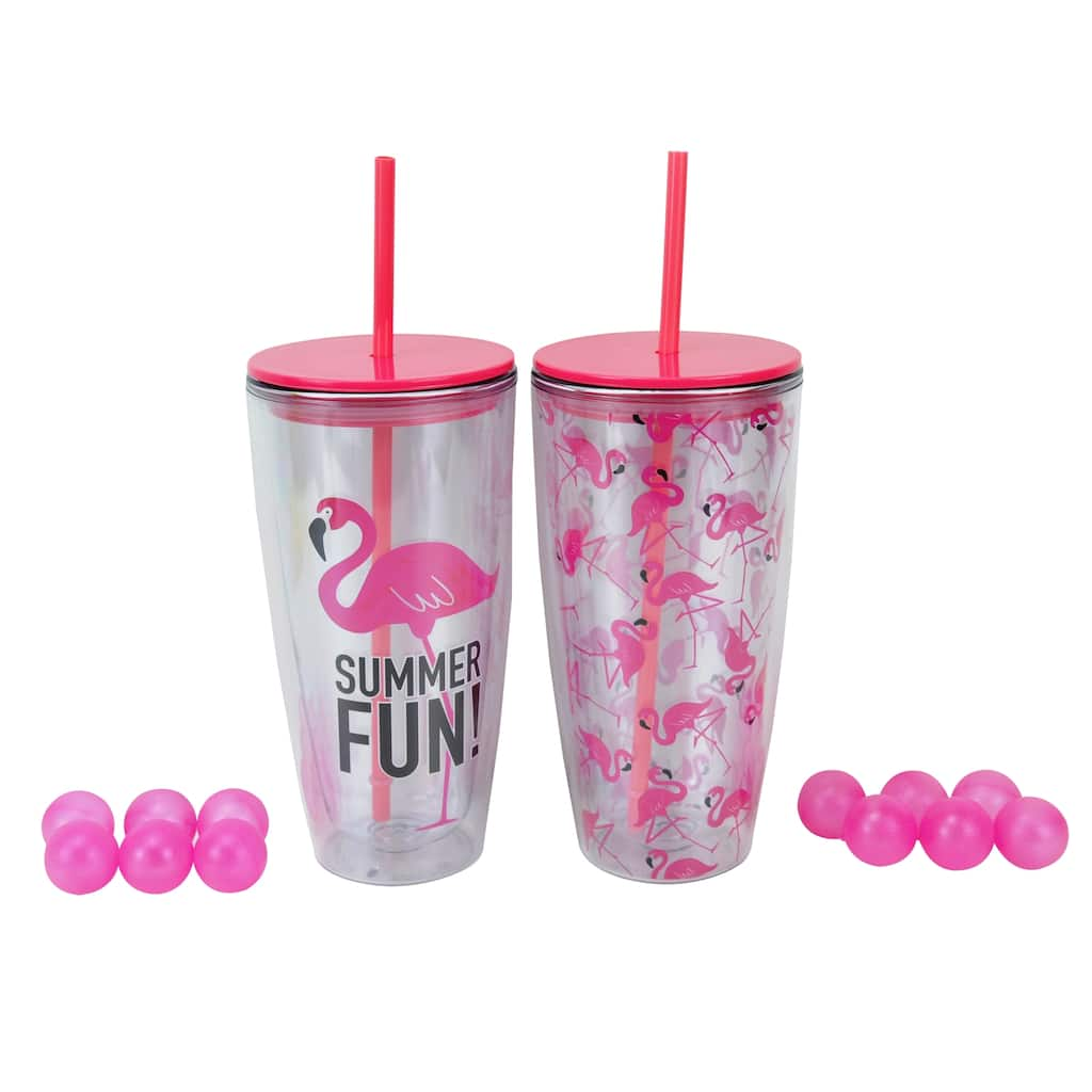 a2b133bebb9 Assorted Flamingo Double Wall Plastic Tumbler By Celebrate It®
