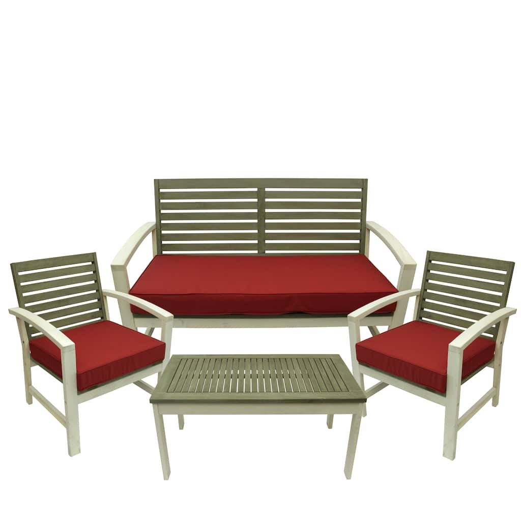 Superb Gray White Red Acacia Wood Outdoor Table 3 Chairs Set Machost Co Dining Chair Design Ideas Machostcouk