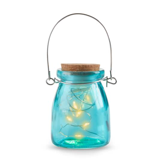 Kate Aspen® Hanging Blue Jar With Fairy Lights, 4ct