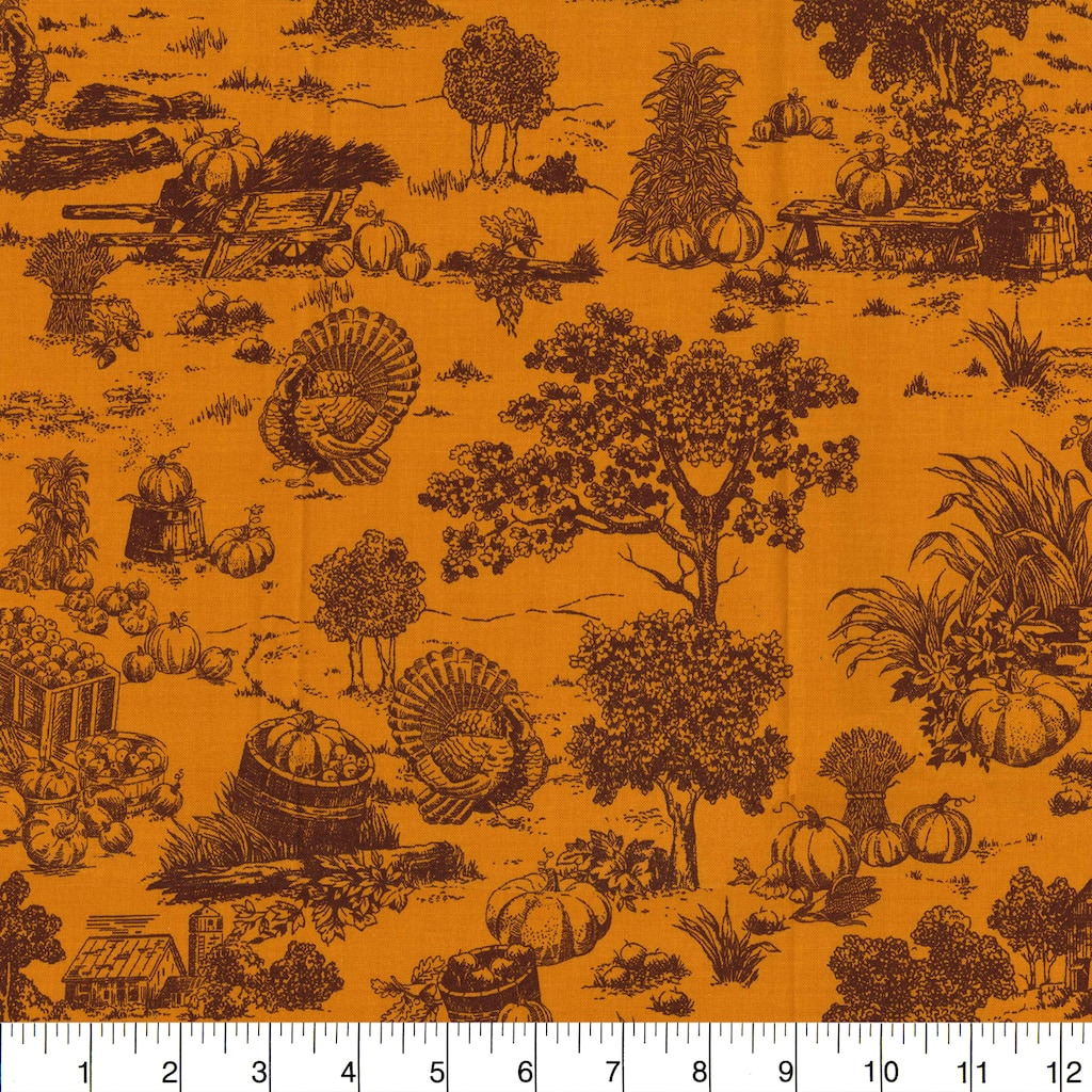 Find the Fabric Traditions Fall Gold Harvest Toile Cotton Home Décor Fabric  at Michaels.com