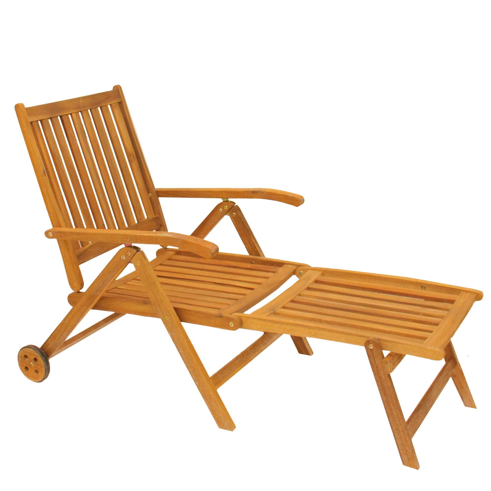 Acacia Wood Outdoor Patio Chaise Lounge Chair