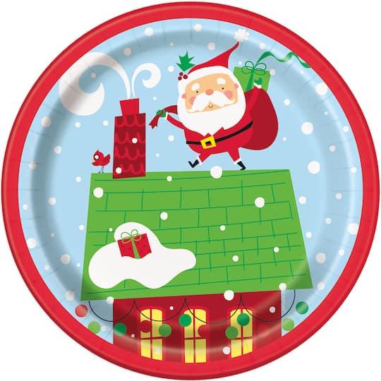 Christmas Paper Plates.7 Colorful Santa Christmas Party Plates 8ct