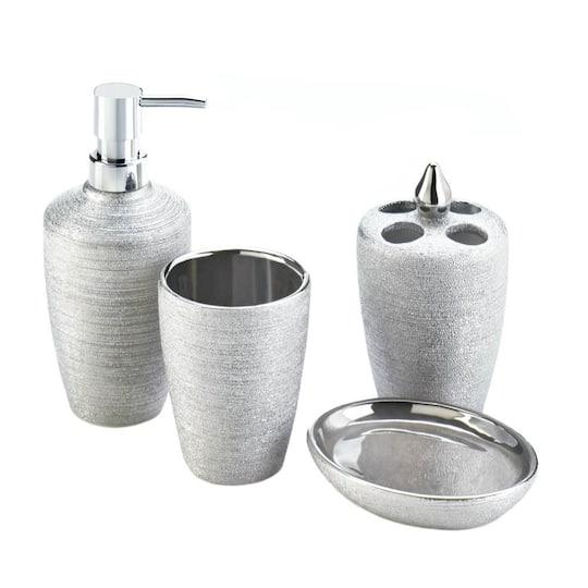 Silver Shimmer Bath Accessory Set, Silver Bathroom Accessories Sets