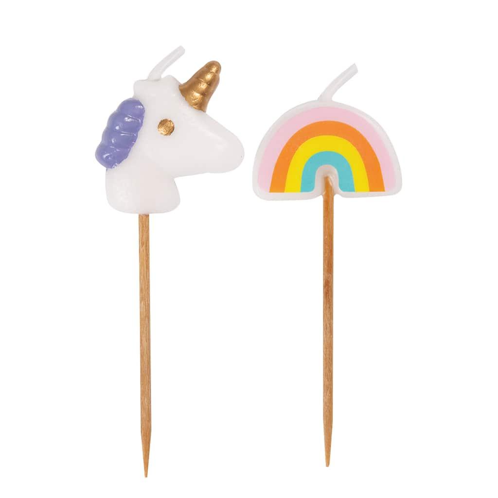 Unicorn /& Rainbow Candle Picks Party Supplies Kids Party Theme