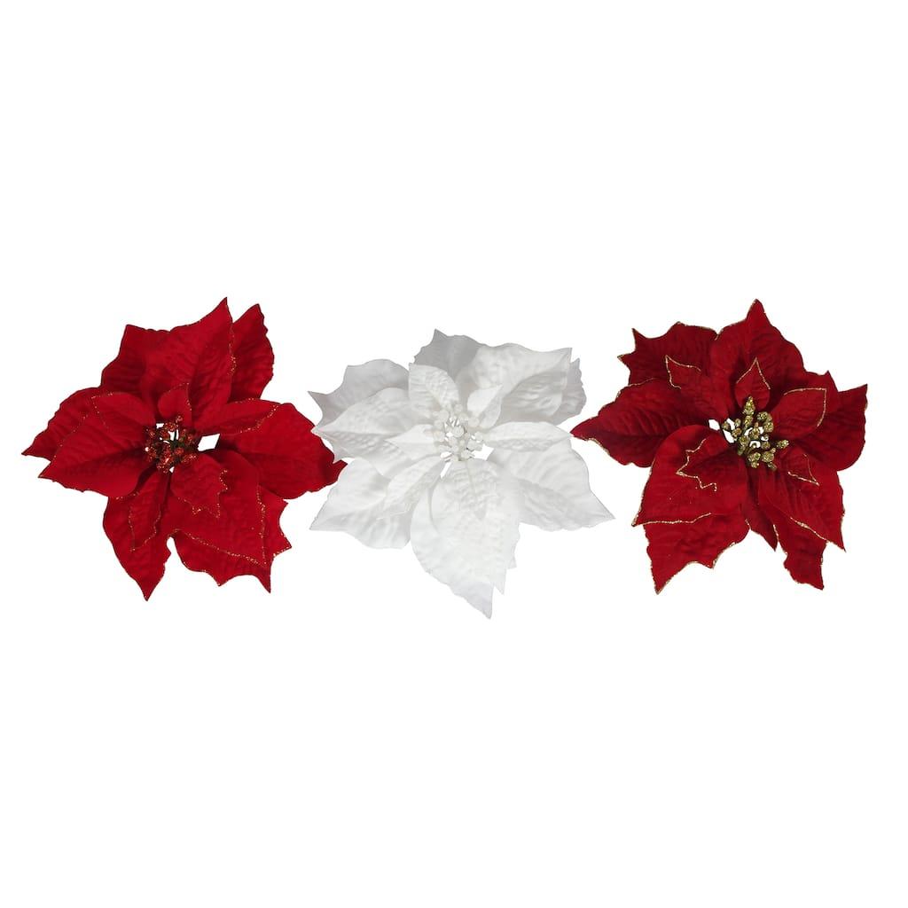 Assorted Velvet Poinsettia Clip By Ashland Michaels