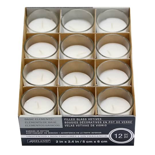 12 Packs: 12 ct. (144 total) White Glass Votive Candles ...
