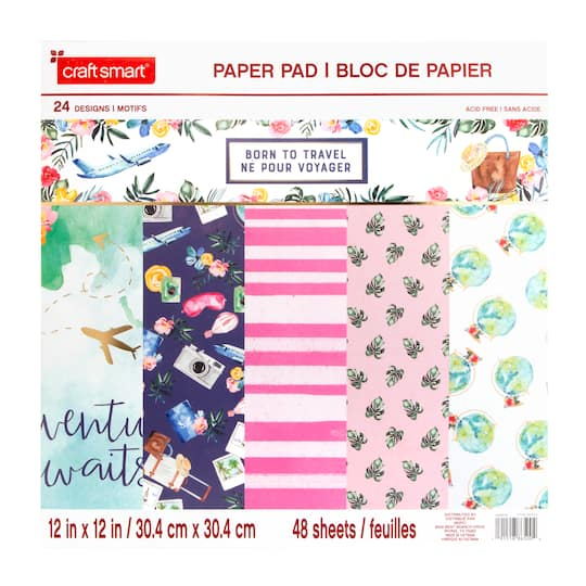 """Download Buy the Born to Travel Paper Pad by Craft Smart™, 12"""" x 12 ..."""