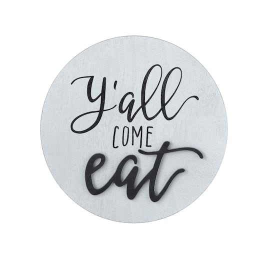 Eat Text Round Wood Wall, Round White Wood Wall Decor