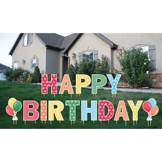 Primary Colors Hy Birthday Yard Sign