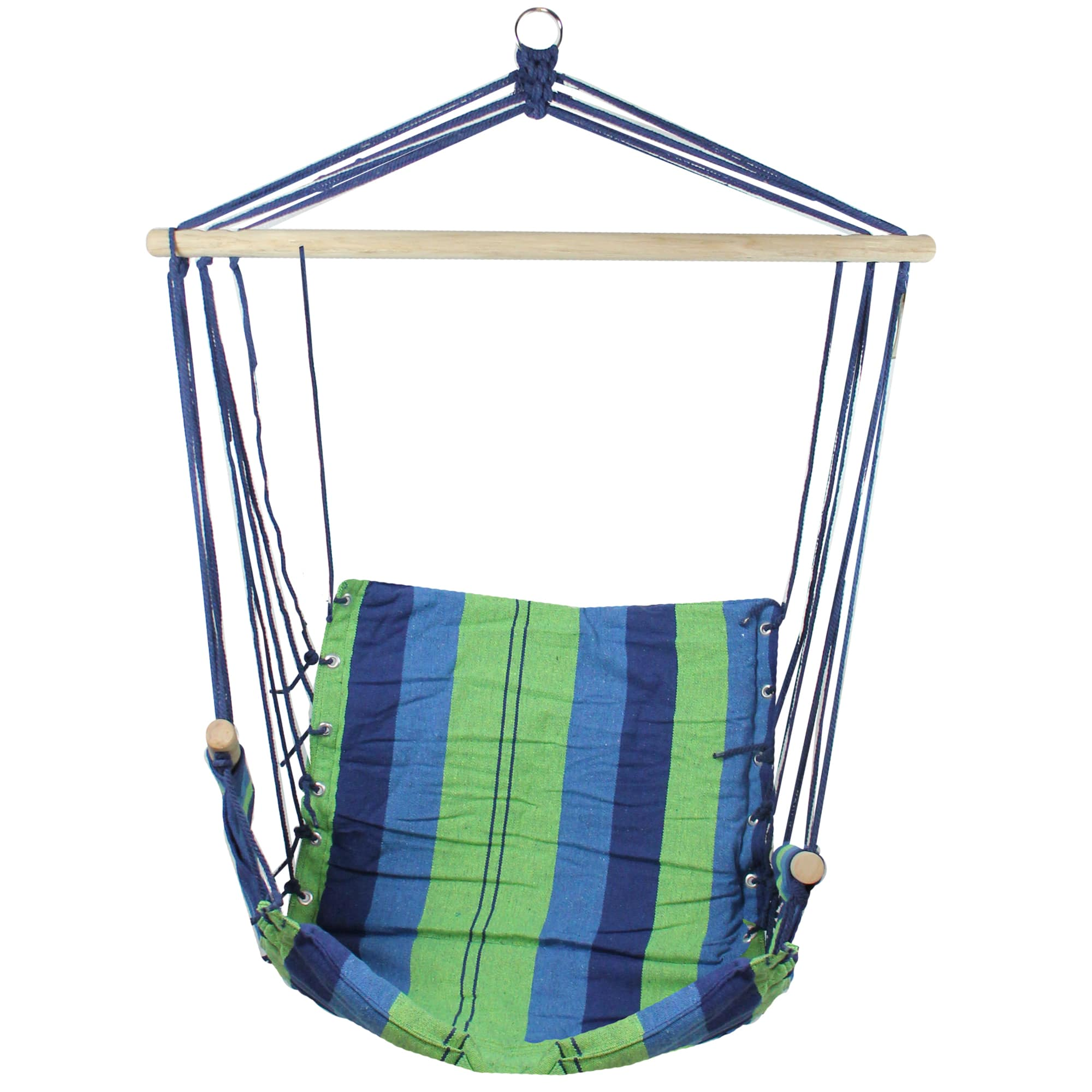 37 X 35 Green Blue Striped Pattern Hammock Chair With Padding And Wooden Armrests