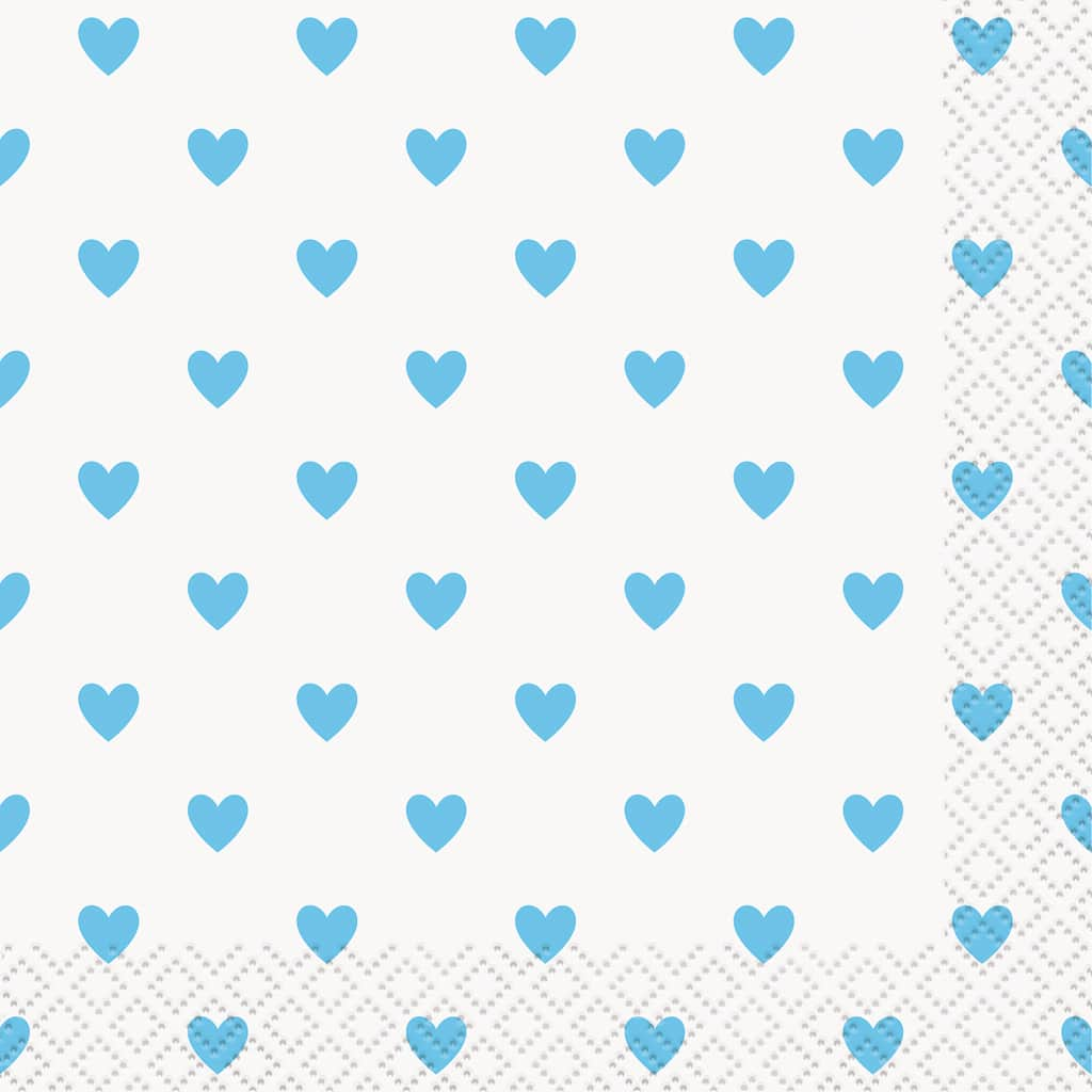 Blue Hearts Baby Shower Drink Napkins Blue Baby Shower Supplies