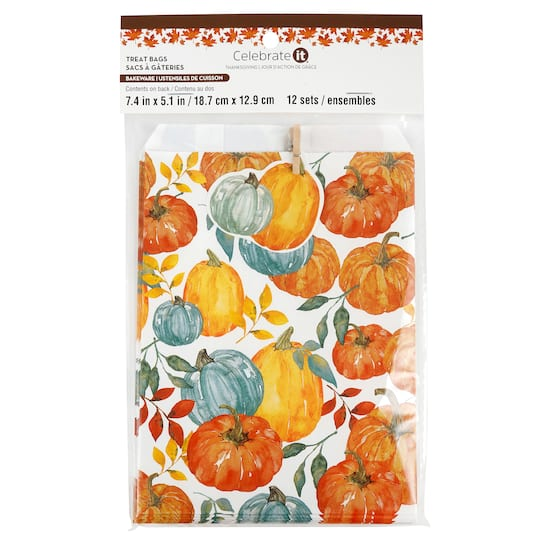 Pumpkin Thanksgiving Treat Bags By Celebrate It 12ct Michaels