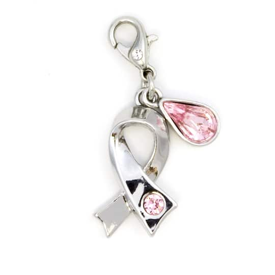 Free ship!! Matching earrings on a Black Suede neckcord Breast Cancer Disciple/'s Cross /& Pink Crystal BC ribbon charm