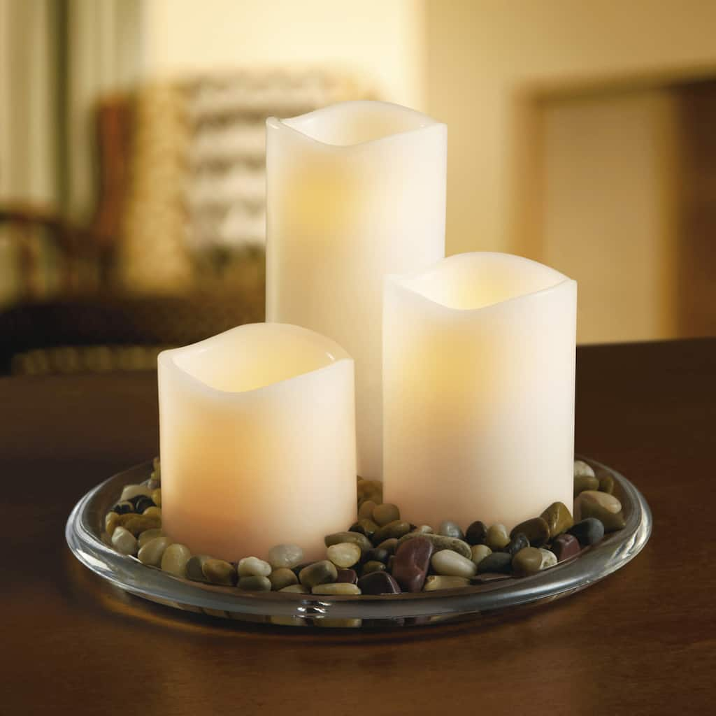 Cool Ashland Wax Touch Led Pillar Candle Set With Remote Home Interior And Landscaping Analalmasignezvosmurscom