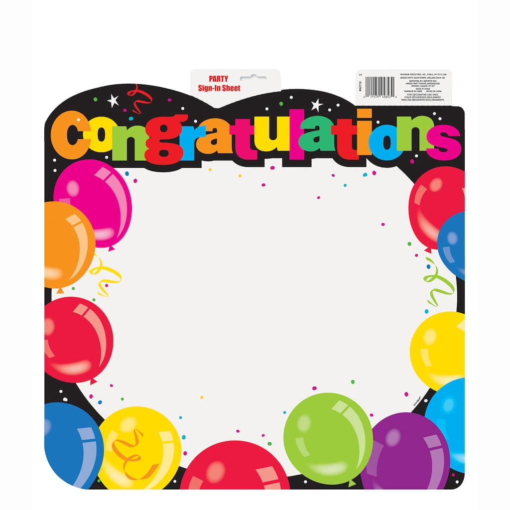 congratulations sign in sheet decoration
