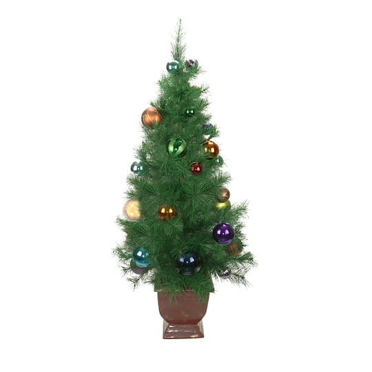 4 ft potted pre decorated multicolor ball ornament artificial christmas tree unlit