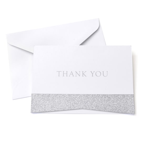 Buy The Silver Glitter Thank You Cards Envelopes By Celebrate It