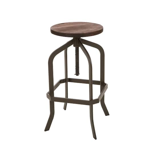 Groovy Glitzhome Pinnadel Wood Adjustable Swivel Bar Stool Inzonedesignstudio Interior Chair Design Inzonedesignstudiocom