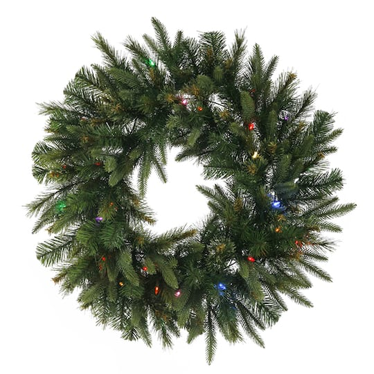 30 pre lit battery operated mixed cashmere pine artificial christmas wreath multi led lights - Michaels Christmas Wreaths