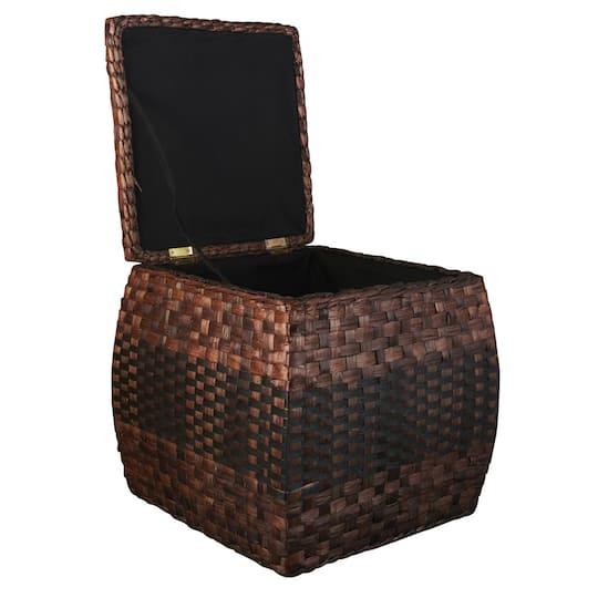 Rush Ottoman With Hinged Lid Storage Basket