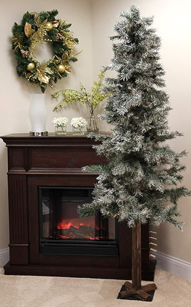 7 Ft Frosted Glittered Woodland Alpine Artificial Christmas Tree Unlit