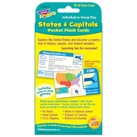 Trend Enterprises® States & Capitals Pocket Flash Cards, 12 Sets on