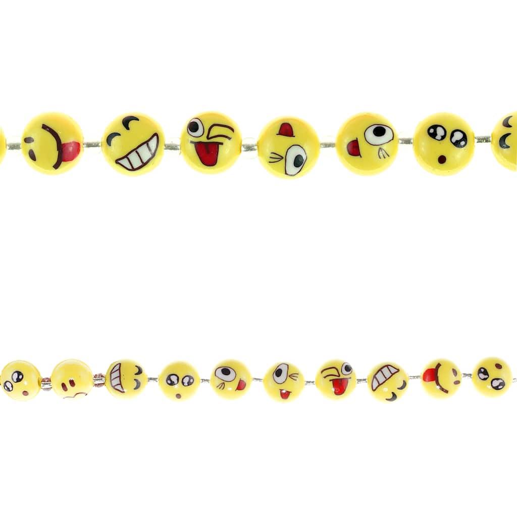 100 round white smileys acrylic beads