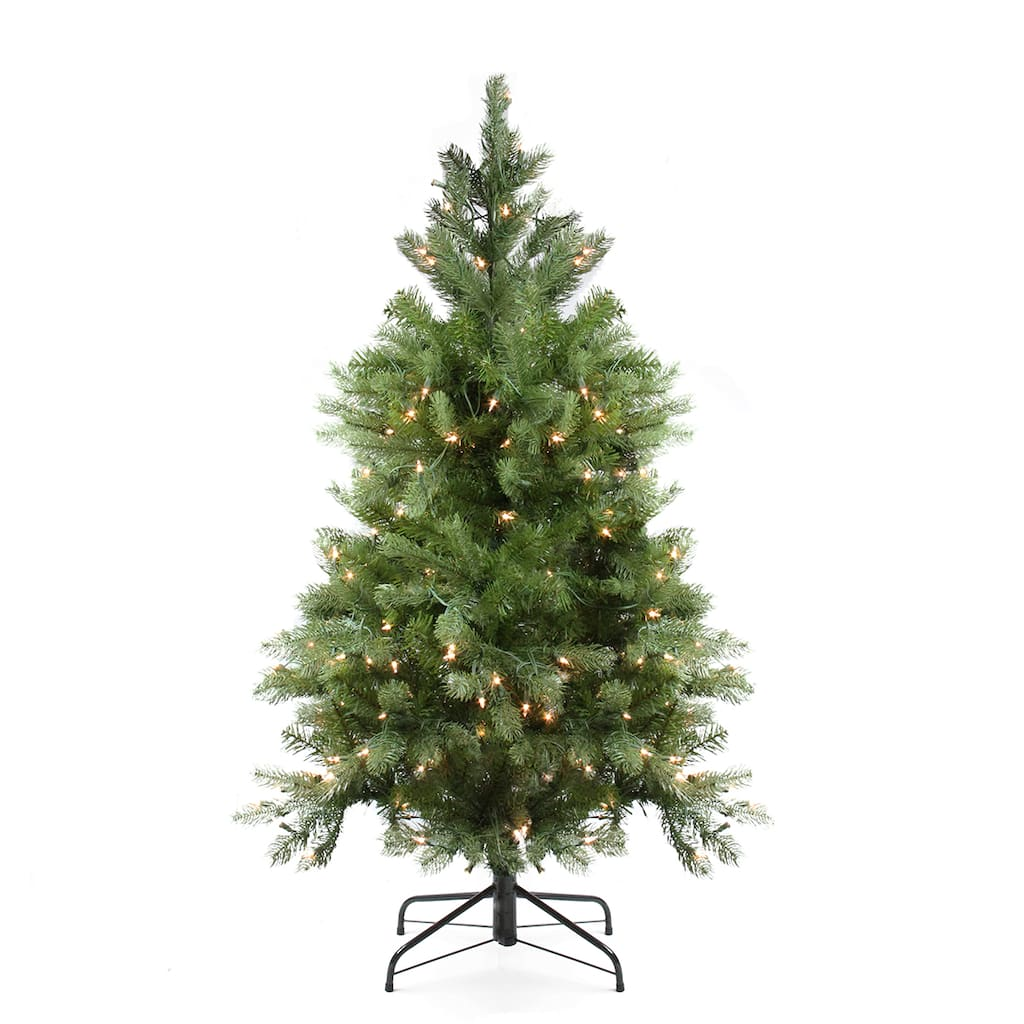 4 Ft. Pre-Lit Noble Fir Full Artificial Christmas Tree, Clear Lights