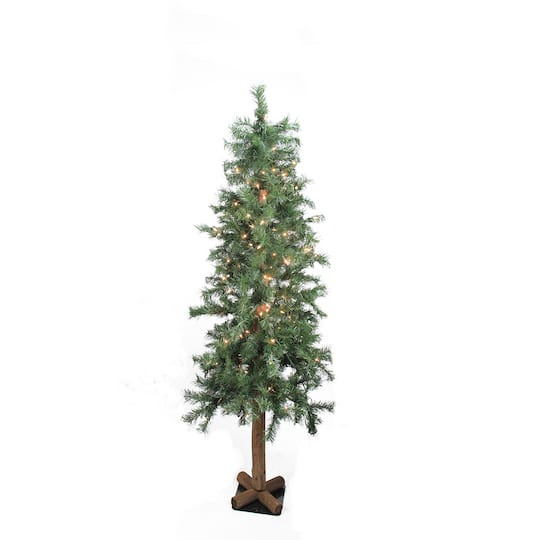 6 Ft Pre Lit Traditional Woodland Alpine Artificial Christmas Tree