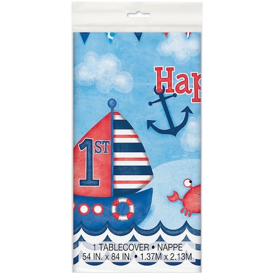 Plastic Nautical 1st Birthday Tablecloth 84 X 54