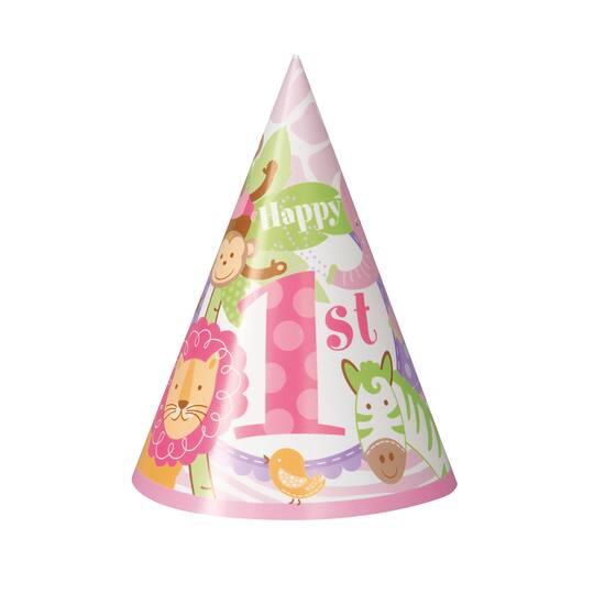 Pink Safari 1st Birthday Party Hats 8ct Img