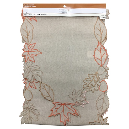 Faux Burlap Table Runner with Embroidered Leaves By Celebrate It™