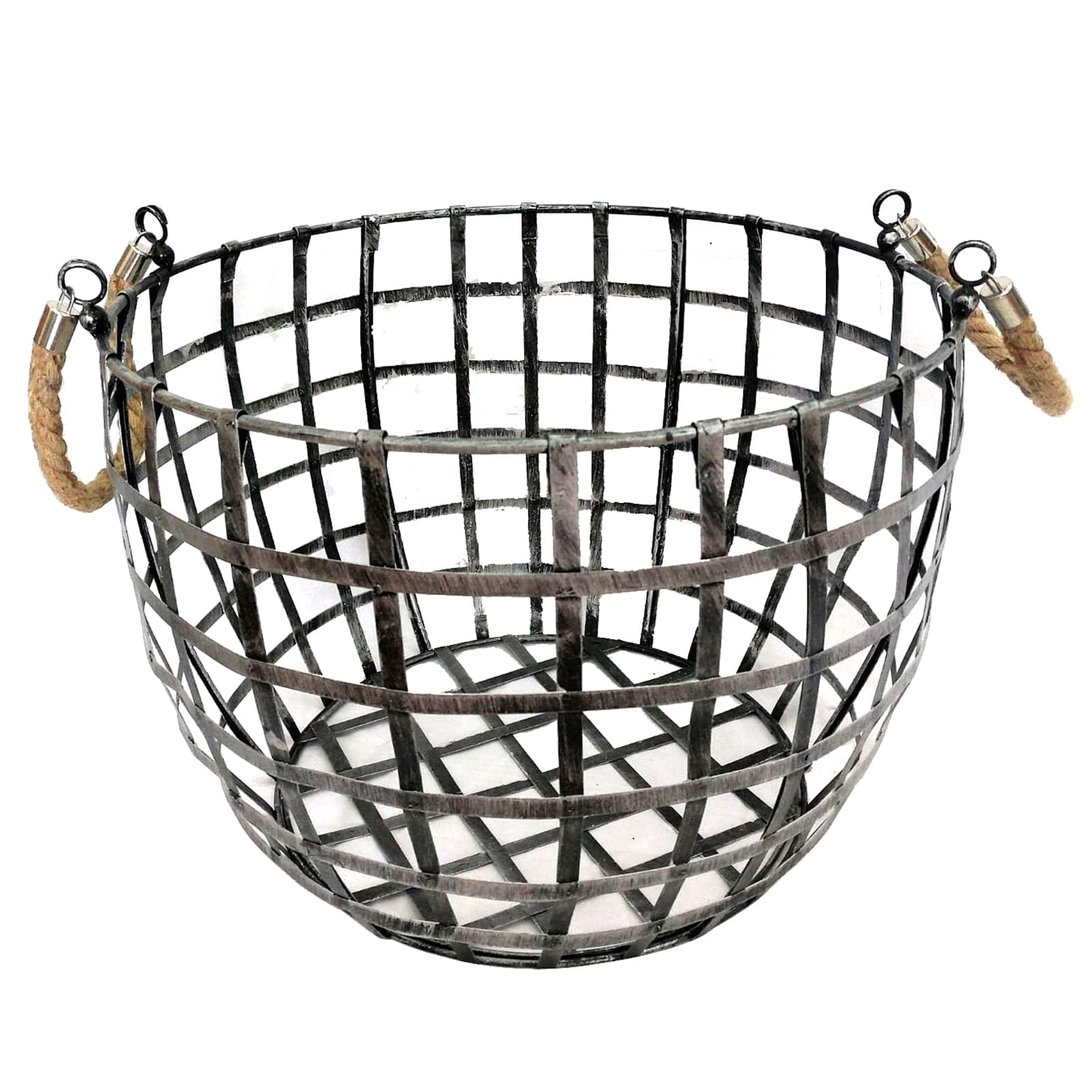 Buy the Large Round Metal Basket with Rope Handle By