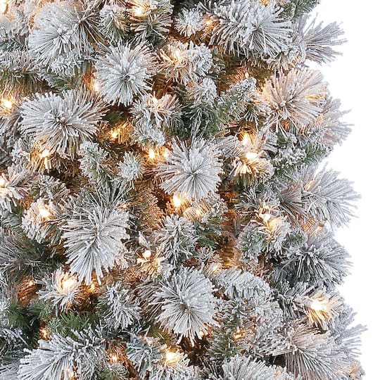 7ft. Pre-Lit Mixed Flocked Slim Artificial Christmas Tree ...