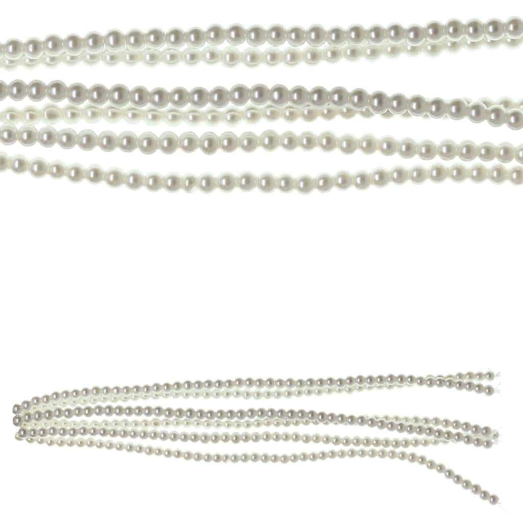100 Glass Beads 4 mm Color Light Blue Mother-of-Pearl Style
